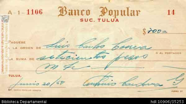 Cheque Del Banco Popular De La Sucursal De Tulua Biblioteca
